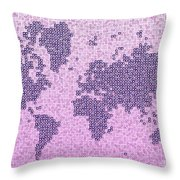 World Map Kotak In Purple Throw Pillow
