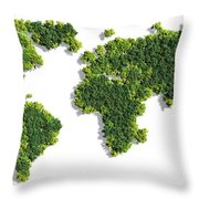 World Map Made Of Green Trees Throw Pillow
