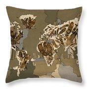 World Map Mandala Feathers 4 Throw Pillow