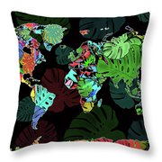 World Map Monstera Leaves  8 Throw Pillow