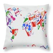 World Map Music 3 Throw Pillow