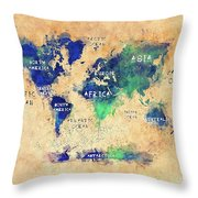 World Map Oceans And Continents Art Throw Pillow