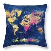 World Map Oceans And Continents Throw Pillow