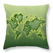 World Map Opala Square In Green And Yellow Throw Pillow