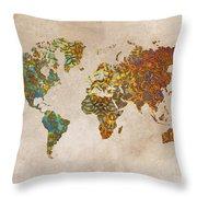 World Map Oriental Throw Pillow