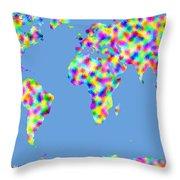 World Map Palette Throw Pillow