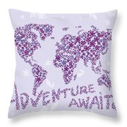 World Map Purple Lavender Floral Pattern Throw Pillow