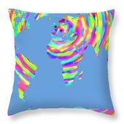 World Map Radial Eurocentric Throw Pillow
