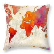 World Map - Rainbow Passion - Abstract - Digital Painting 2 Throw Pillow