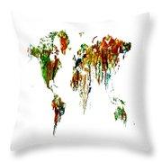 World Map Running Paint 01 Throw Pillow