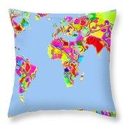 World Map Viscous Throw Pillow