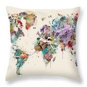World Map Watercolors Throw Pillow