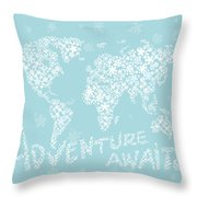 World Map White Flowers Aqua Blue Throw Pillow