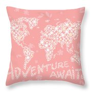 World Map White Flowers Pink Throw Pillow