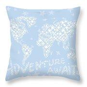 World Map White Star Pastel Blue Throw Pillow