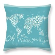 World Map White Star Turquoise Throw Pillow