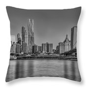 World Trade Center And The Brooklyn Bridge Bw Throw Pillow