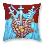 World Turtle Three Of Swords Throw Pillow