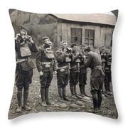 World War I: Gas Masks Throw Pillow
