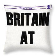 World War I Headline, 1914 Throw Pillow