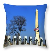 World War II Memorial And Washington Monument Throw Pillow