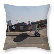 World War II Plane P-40 Thunderbolt Throw Pillow