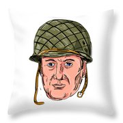 World War Two American Soldier Head Drawing Throw Pillow