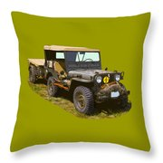 World War Two Army Jeep With Trailer  Throw Pillow