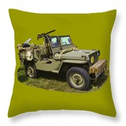 World War Two - Willys - Army Jeep  Throw Pillow