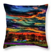 World's Most Psychedelic Autumn Sunsset Throw Pillow