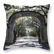 Wormsloe Plantation Gate Throw Pillow