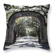 Wormsloe Plantation Gate Throw Pillow by Carol Groenen