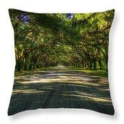 Shadows Of Wormsloe Plantation Oak Avenue Georgia Art Throw Pillow
