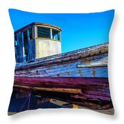 Worn Weathered Boat Throw Pillow