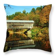 Worrall's Bridge Vermont - New England Fall Landscape Covered Bridge Throw Pillow