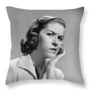 Worried Woman, C.1950-60s Throw Pillow