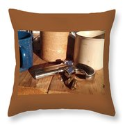 Would You Like A Little Pistol With Your Coffee Throw Pillow