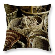 Woven Baskets For Sale At A Market Throw Pillow