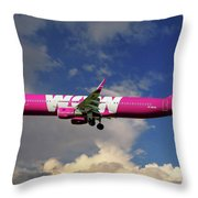 Wow Air Airbus A321-211 Throw Pillow