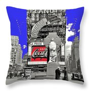Wrapped  Fr. Duffy Statue Times Square New York Peter Sekaer Photo 1937 Color Added 2014 Throw Pillow