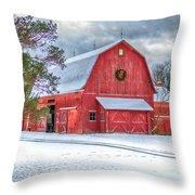 Wreath On A Barn Throw Pillow