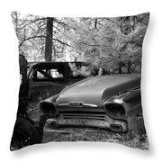 Wrecking Yard In Infrared 1 Throw Pillow