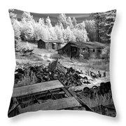 Wrecking Yard In Infrared 2 Throw Pillow