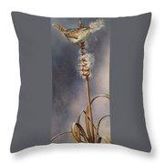 Wren And Cattails Throw Pillow