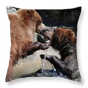Wrestling Grizzly Bears In A Shallow River Throw Pillow