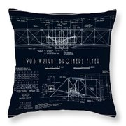 Wright Bros Flyer Aeroplane Blueprint  1903 Throw Pillow