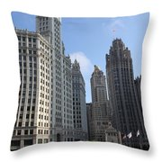 Wrigley And Tribune Tower Throw Pillow