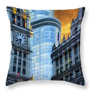 Wrigley Building And Trump Tower Dsc0540 Throw Pillow