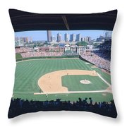 Wrigley Field, Chicago, Cubs V Throw Pillow