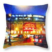 Wrigley Field Home Of Chicago Cubs Throw Pillow